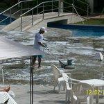 Limpeza da piscina em pleno horario de sol (10h25)