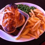 Homemade Steak & Onion Pie with home cut chips
