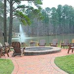 outdoor fire pit on lake