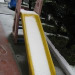 The slide covered in fresh snow