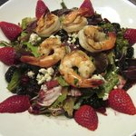 Four Berry Salad topped with Shrimp