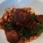 8 hour braised ox cheek with roast potato, braised shallot and red wine jus