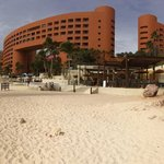 Panoramic view of the beach and hotel