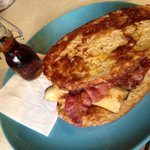 Sour dough French toast with caramelised banana, crispy bacon & Canadian maple syrup.