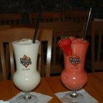 A pina colada and a strawberry daiquiri.