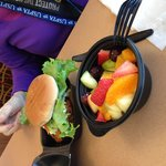 Large Fruit cup and deluxe chicken sandwich. $7