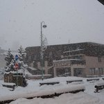 Hotel in snow storm