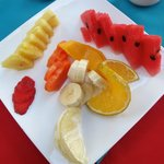 Breakfast fruit plate.