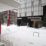 本館とアネックス間 雪かきしてね