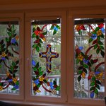 Willie's beautiful handpainted stained glass windows