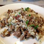 Risotto w/ caramelized onions and mushrooms & crumbled sausage