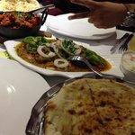 Garlic Naan, Mixed Karai, Monkfish Bhuna & Peshwari Naan