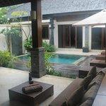 view of pool and bedroom doors
