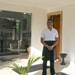 """Prasanna, owner of Anna Shanthi, wishing us """"bon voyage""""."""