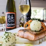 Salmon with white asparagus and parsley oil