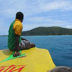 Maurice on the front of the boat to Pele Island