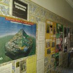 Tiled walls lined with information