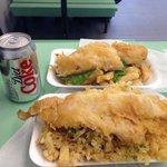 Haddock chips and peas with SCRUMPS and of course a diet Coke lol