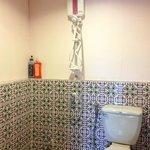Toilet in room + hot shower