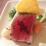 closeup of sashimi plate