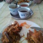 Chicken/Veg & Shrimp/beanshoot fritters with 3 sauces