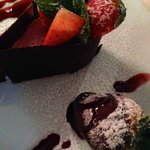Dessert: strawberry mousse with fresh strawberry dipped in chocolate