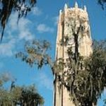 Bok tower surrounded by live oaks