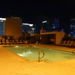 Rooftop pool area at night