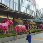 red horses decorate the store's entrance.