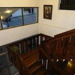 Stairway from lobby to second floor - complete with the Mona Lisa!