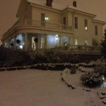 Spring Street Inn B&B at night with freshly fallen snow