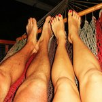 We loved lounging in these hammocks