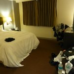 Our room - please excuse all the motorcycle gear strewn about