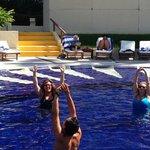 Fun water aerobics class