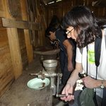 Viewing the old-style way of grinding coffee