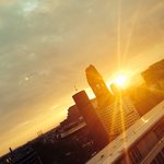 Greatest view of Berlin sunset from the Monkey Bar on the 10th floor of 25h Bikini hotel Berlin!