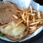 Southwest Chicken Sandwich with sour cream and chive fries