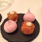 Beetroot meringue and fish cake