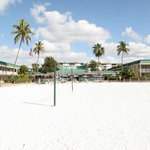 View from beach of Pincers Tiki Bar & hotel