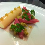 Yorkshire rhubarb and custard cannelloni with oat crumble candid ginger purée burnt orange sabay