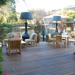 Huge deck with seating and heat lamps