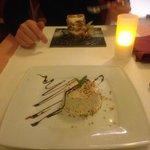 Délicieux desserts : pour monsieur, un tiramisu comme rarement réussi et pour madame, un parfait