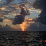 Sunrise...between Caye Caulker and the mainland.  Ricco said,