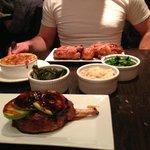pork chop, sides, and fried chicken