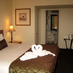 King Bed Room ... love the swan towels!