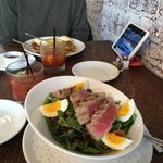 Eggs Benedict, Bloody Marys, Salad Nicoise, Olympics on iPad
