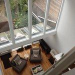 living room and backyard