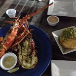 Fresh lobster butter and garlic . Mofongo