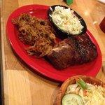 Pick 2 pork and ribs. The pork is kinda sweet the ribs were meaty! Flavor wise - ok, my husband