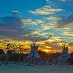 sunrise over teepees